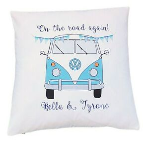 "Personalised light blue Campervan - 16"" cushion cover vintage/wedding/gift"