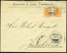Finland perfin F & Co of Finlayson, Tammerfors in pair on cover to Jakobstad