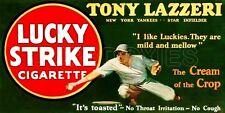 1928 Lucky Strike Store Counter Standup Sign Tony Lazzeri New York Yankees Repro