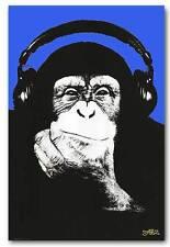 Steez Monkey DJ QUALITY CANVAS PRINT pop art Poster ART - blue - A4