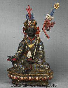 """10.4"""" Old Tibet Buddhism Temple Bronze Painting Guru Padmasambhava Buddha Statue"""