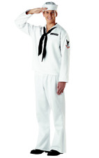 Mens Sailor Costume Sea Captain White Navy Officer Uniform Fancy Dress