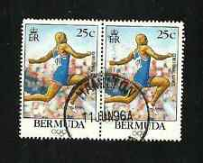 BERMUDA POSTAL ISSUE - USED PAIR OF OLYMPIC STAMPS - 1996
