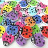 50pcs Mixed Ladybird Beetle Wooden Buttons Kids DIY Handmade Decorated Craft