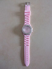 Geneva womens Pink wristwatch with clear swarovski crystal elements-jewelry