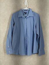 Lands End Shirt womens 20w button up long sleeve blouse blue