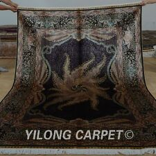 YILONG 5.9'x8.2' Handknotted Silk Area Rugs Porch Indoor Home Carpet 0753