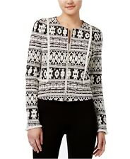 bar III Women Jacket Jacquard Cropped Southwestern Aztec Print Blazer Knit S NWT