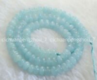 Natural 4x6mm Light Blue Aquamarine Gems Abacus  Rondelle Loose Beads Strand 15""