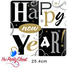 8 HAPPY NEW YEAR BLOCK PLATES 25.4cm Square NYE New Years Eve Party Plates 99928