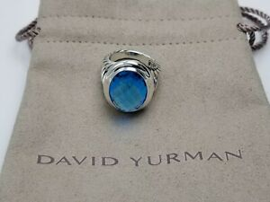 David Yurman 13mm x 18mm Oval Ring with Blue Topaz Size 7