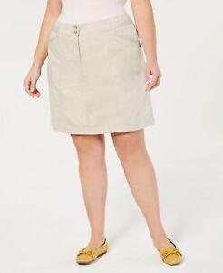 Karen Scott (J20-40*) Cotton Blend Plus Size A-Line Skort Stonewall Sz 20W