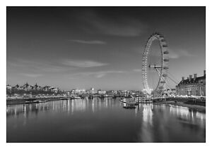 London Eye - Black And White England Landscape Art Large Poster & Canvas Picture