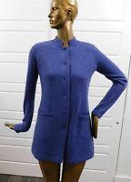 J. McLaughlin Mirian Navy Blue Denim Checker Cashmere Jacket Sweater sz S