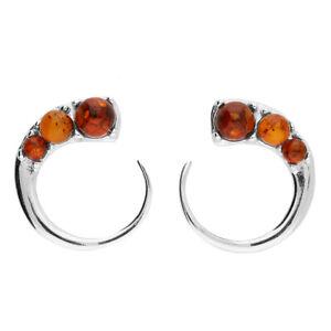 925 Sterling Silver Cabochon Cognac Amber  C Shape Stud Earrings