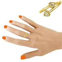 10K Solid Yellow Gold CZ Cubic Zirconium Heart Adjustable Ring or Toe Ring