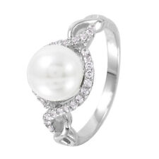 925 STERLING SILVER LADIES WEDDING RING/SZ 5-9 /  W/ WHITE PEARL CENTER STONE