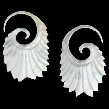 12G Pair Mother of Pearl Double Feathered Spiral Gauged Earring Plugs 12 gauge