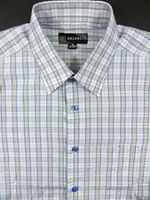 Balencia Button Front Dress Shirt Checks sz 15 15 1/2 Blue White Brown
