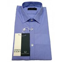 Camicia Fred Perry Uomo Men shirt  Slim Fit popeline 30213176 RIGA BLU COLLO ITA