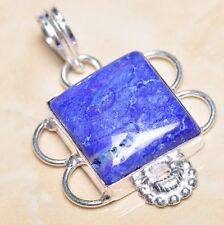 "Handmade Blue Sapphire Gemstone 925 Sterling Silver Pendant 1.75"" #P04920"