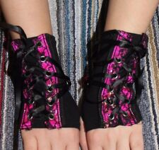 TRIPP Nyc GLOVES gothic hot topic fingerless black pink lace