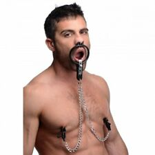 Degraded Open Mouth Gag Spreader Restraint W Nipple Clamps BDSM Body Chain Slave