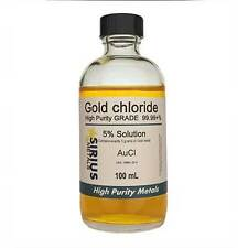 8.625% Gold Chloride (5.0% as 99.997% pure Gold metal) - 100 mL in glass bottle