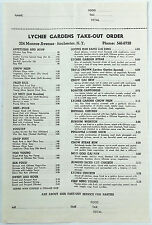 Original Vintage Take Out Menu LYCHEE GARDENS Rochester New York