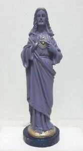 Jesus Icon Statue Sacred Heart of Jesus Purple Violet & Gold upon Stars - Italy
