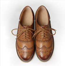 Fashion British Womens Oxfords Leather Mixed Color Flat Low Heels Lace Up Shoes