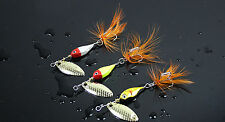 5PCS Fishing Minnow Fly Feather Treble Hook Spinner Spoon Lure baits 12g