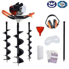 65cc Petrol Earth Auger / Fence Post Hole Borer + 3 Auger Bits + Extension Bit