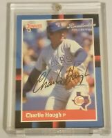 Charlie Hough Donruss Recollection Signed Auto Card #59/184