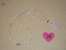 "Beautiful Pink Rose Quartz Crystal Healing Pendant Necklace 18"" #14 NEW"