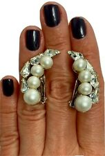 Faux Pearl Pear-Cut Glass Paste Vintage Rhinestone Mega Climber Clip-On Earrings