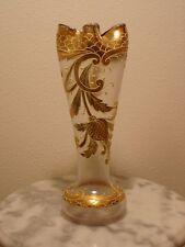 Bohemian Matt or Satin Finish Enamel Decorated Art Glass Vase
