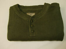 Life Is Good Men's Button Collar Olive L/S Cotton Medium Knit Sweater Size XL