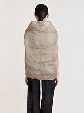 =AVANT GUARDE= RICK OWENS Beige Raised Collar Island Cocoon Silk Top Shirt US8