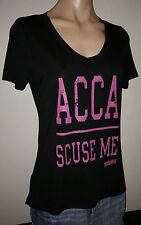 PITCH PERFECT 2 ACCA SCUSE ME MOVIE LG LARGE BLACK P V-NECK WOMENS TOP SHIRT NEW