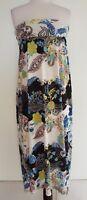 VEDUCCI Black/White/Coloured Floral Stretch Knit Dress Size 14