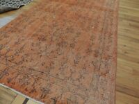5x7 4x7 Modern Vintage style Oriental Area Rug Orange wool shabby chic faded