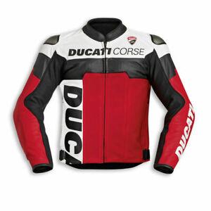 DUCATI Mens Racing Motorbike Leather Jacket Biker Motorcycle Leather Jackets