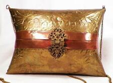 Vintage Pillow Purse Evening Bag Brass & Copper 1930s Blue Velvet Lining Cushion