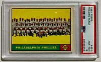 1961 TOPPS #491 PHILADELPHIA PHILLIES PSA 8 NM-MT SUPER SHARP! ASHBURN & ROBIN