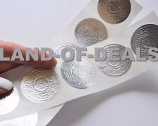 50 Silver Round sticker Christmas envelope seals embossed foil stickers 1.5""