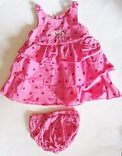 Pink with Red Dot Cotton Ruffled Dress with Bloomers by KRU size 6/9 months