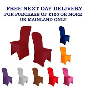 Elasticated CHAIR COVERS Wedding Spandex Arched Front 12 Colours Party Decor UK