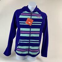 GIRLS: The North Face Fleece Full-Zip Hoodie Jacket, Purple - Size Large (14/16)