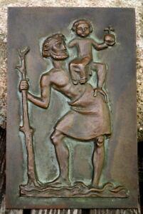 großes Wandrelief aus Bronze 24 x 15 cm hl. Christofferus 1140 g Künstlerarbeit